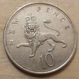 1973 Great Britain Queen Elizabeth II 10 Pence Coin