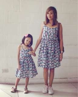 Mom&Baby Butterfly Dress in Peach and Teal