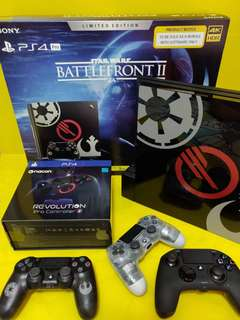 PS4  PRO STAR WARS BATTLE FRONT 2  CONSOLE WITH CONTROLLERS