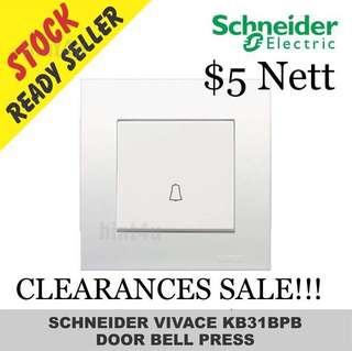 PROMOTION SALE!!! Schneider Vivace KB31BPB One Gang Doorbell Press Switch.