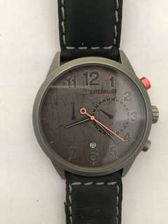 CATERPILLAR Extend Chrono Black Leather Strap