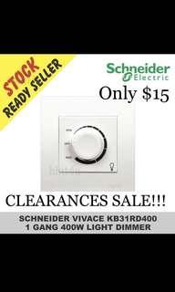 CLEARANCES SALE!!! Schneider Vivace KB31RD400 One Gang 400W Light Dimmer.