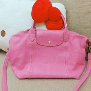 🚚 正品二手Longchamp 小羊皮s號 手提肩背包粉色