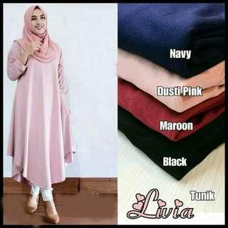 Baju Atasan Wanita Livia Tunik Blouse Baju Muslim Blus Muslim