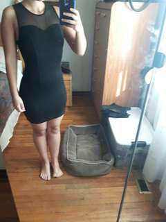 Black short bodycon dress with mesh on the top