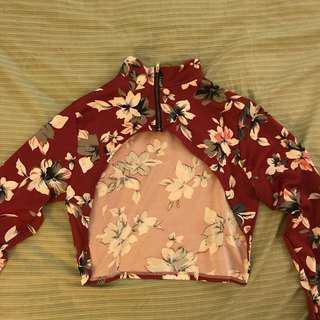 Maroon Floral Super Cropped Sleeves