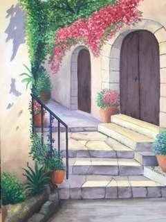 Original Artwork Painting by Victoria: Mediterranean Villa