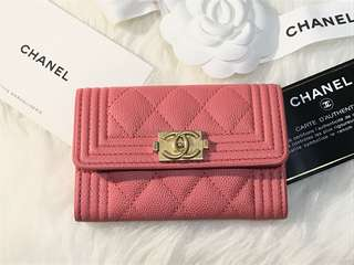 2018S limited Chanel Boy Pink Caviar Card Holder