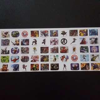 🚚 Set 3 of 6 Marvel Avengers Mini Square Sticker Stickers