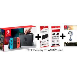 Switch Standard Bundle (Neon) (1 Game/Tempered Glass /Hard Case)