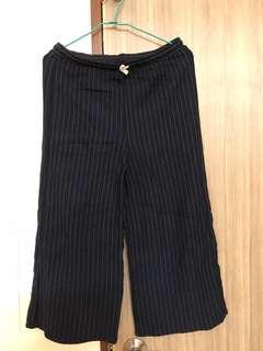 🚚 Zara深藍條紋寬褲
