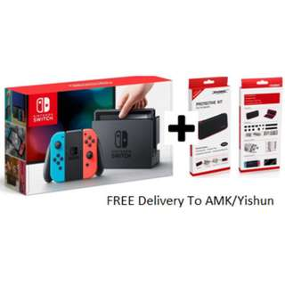 Switch Basic Bundle (Neon) (Tempered Glass N Hard Case)