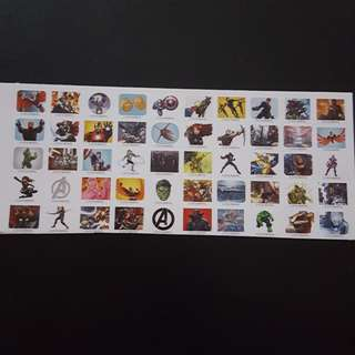 🚚 Set 4 of 6 Marvel Avengers Mini Square Sticker Stickers