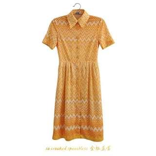 🚚 電波漸層銘黃洋裝/古著/鋸齒推推款/洋裝