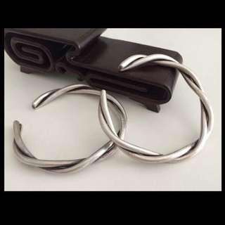 聽雨樓:#LY-0001:【老銀器】民國蘇工簡潔絞絲情侶老銀對鐲