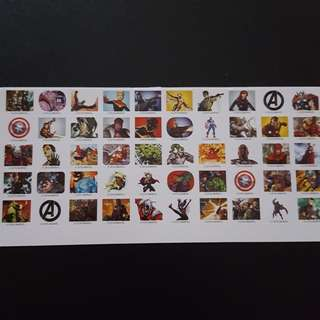 🚚 Set 6 of 6 Marvel Avengers Mini Square Sticker Stickers