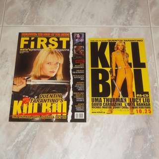Kill Bill First Movie Magazine & Kill Bill Japan Original Flyer 2003 Uma Thurman Quentin Tarantino Game Of Death Bruce Lee Mint