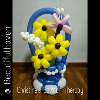 SUNFLOWER BALLOON BASKET with butterfly