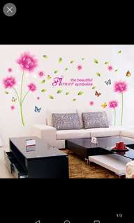 Living room TV background wall bedroom bedside wall stickers wallpaper self-adhesive pink lotus wall stickers can be removed