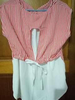 🚚 條紋紅無袖上衣