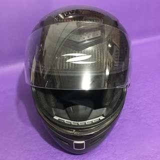 ZEUS 1200EA 黑色電單車碳纖頭盔