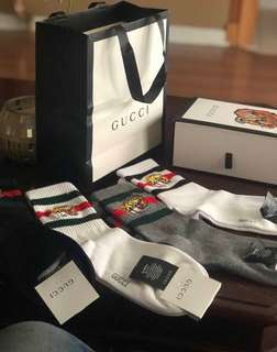 4 Pairs Gucci Tiger Embroidered Socks