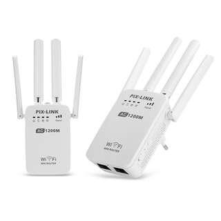 HK$248/1PC ~全新雙頻 多功能 4天線1200M路由器 中繼器 2.4及5GHz AC1200 Wifi Repeater Router