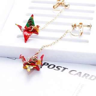 Red Origami Earrings