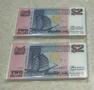 2 STACKS 200 PCS SINGAPORE $2 SHIP PURPLE TDRL GOOD PREFIX GG475701-900 RUN UNC