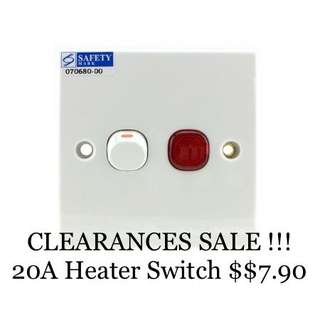 PROMOTION SALE!!! Schneider Clipsal E32D20NA 20A Double Pole Heater Switch With Neon.