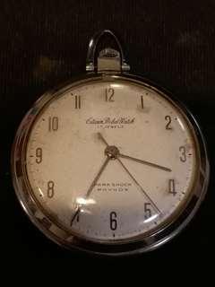 日本CITIZEN西鉄城PHYNOX17石手動上鏈古董銀懷錶