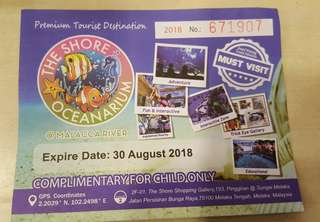 The Shore Oceanarium Complimentary Ticket For Child