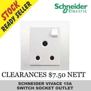 PROMOTION SALE!!! Schneider Vivace KB15/15 One Gang 15A Switched Socket.