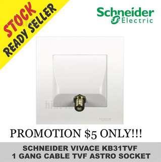 PROMOTION SALE!!! Schneider Vivace KB31TVF One Gang Cable TV Socket.