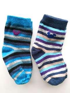 PRELOVED DISNEY Set of 2 Kid's Navy Blue Purple Stripes Mickey Socks
