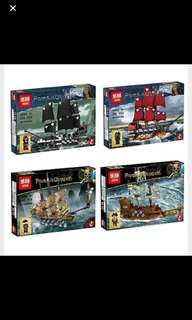 In Stock* Lepin 03058 Movie Series The 4 In 1 Black Pearl Queen Anne's Reveage Slient Mary Ship Set Building Blocks Brick