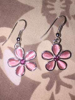 Pink flower earings