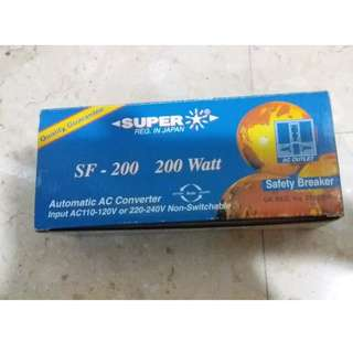 SUPER SF-200 200W Step Up/Down Automatic AC Power Transformer (Safety Breaker)