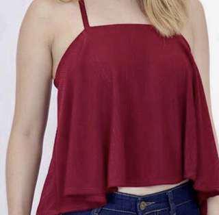 maroon knit y back (halter) essential top