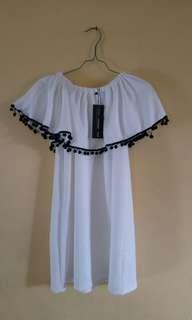 Dress putih wanita sabrina