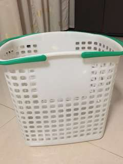 $4 white Plastic Laundry Basket with green handle big storage container