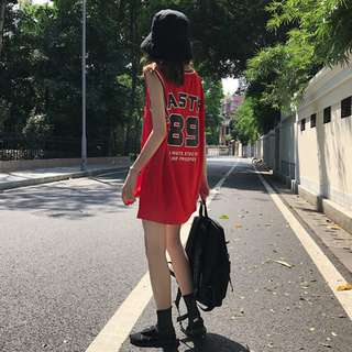 summer Korea letter printing sports casual loose round neck vest