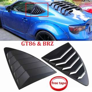 Car Rear Windows Side Cover Air Vent for Toyota Aero 86 and Subaru BRZ 2Pcs Louver Quarter Window ABS Black Plastic
