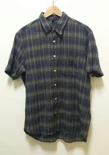 🚚 🔥格子 格紋 短袖 襯衫 上衣 休閒 百搭 稀有 老品 古著 復古 Vintage