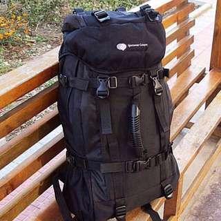 45L Black/ Red Travel Backpack Bag - New