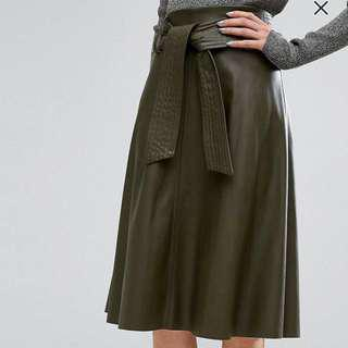ASOS Olive Green Faux Leather Midi-Skirt