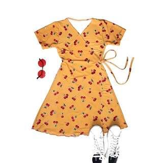 Cherry Wrap on Dress