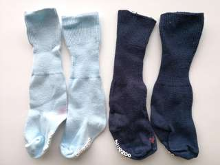 PRELOVED BLUEZOO Set of 2 Pairs of Kid's Socks In Light & Dark Navy Blue - in good condition with flaws