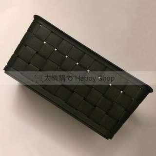 🚚 《二手》歐美快樂籃(小) 黑色居家收納盒 塑膠 編織 置物盒