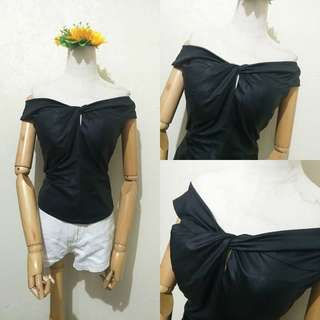 Black Soft Leather-like Top